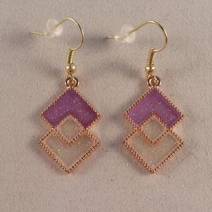 Gold Mystic Purple White Diamond Earrings Hypoalle